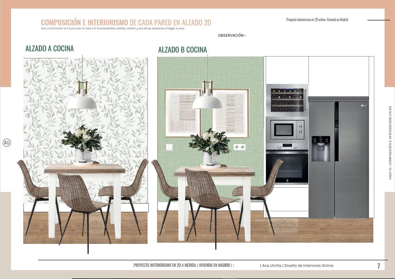 Alzado en 2D zona de cocina, moderna, de la vivienda en Madrid, de estilo relajado neorústico. #AnaUtrillainterioristaonline