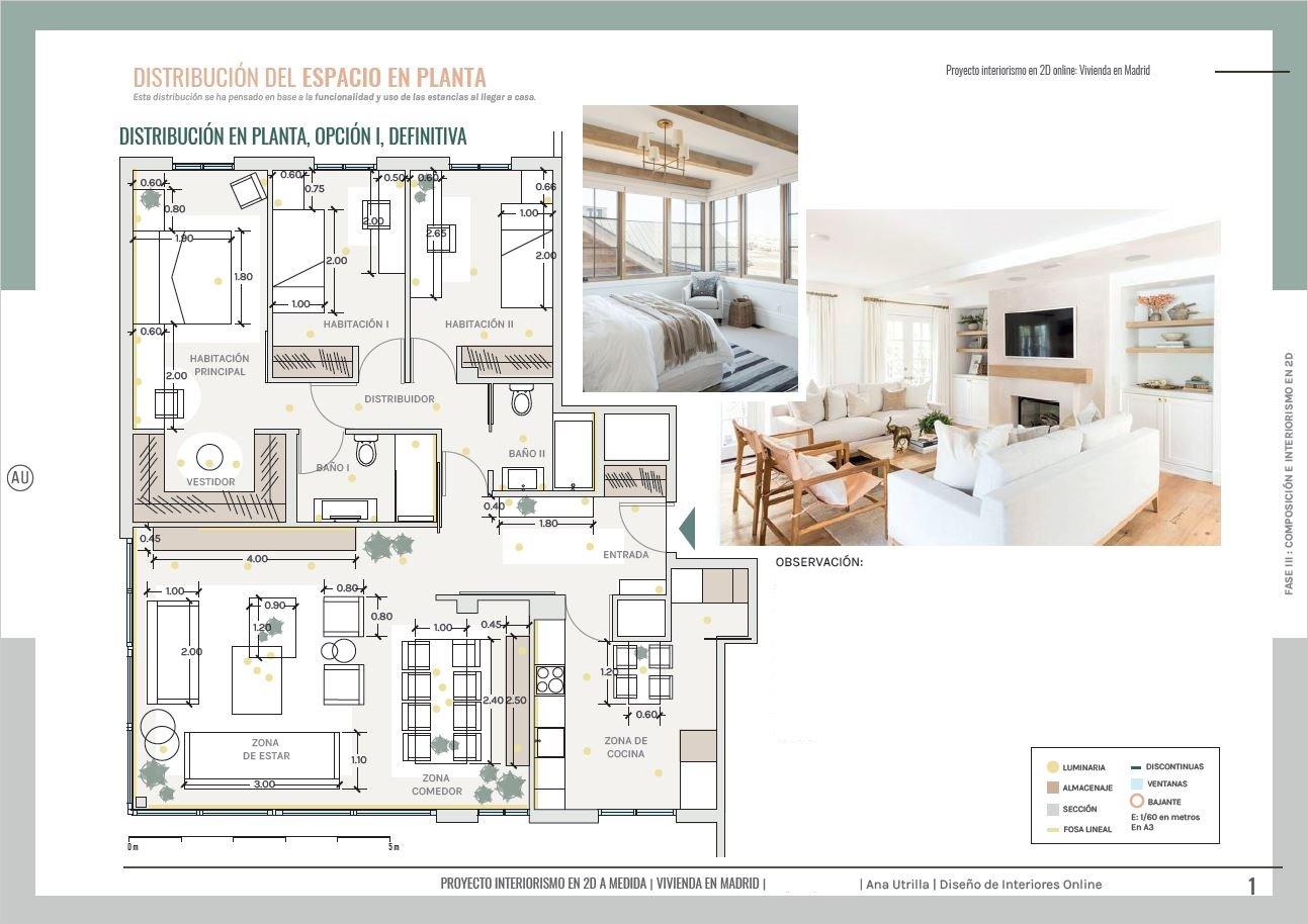 Plano de planta, vivienda en Aranjuez de nueva construcción, distribución optimizada del mobiliario, de estilo relajado neorústico con toques vintage. #AnaUtrillainterioristaonline