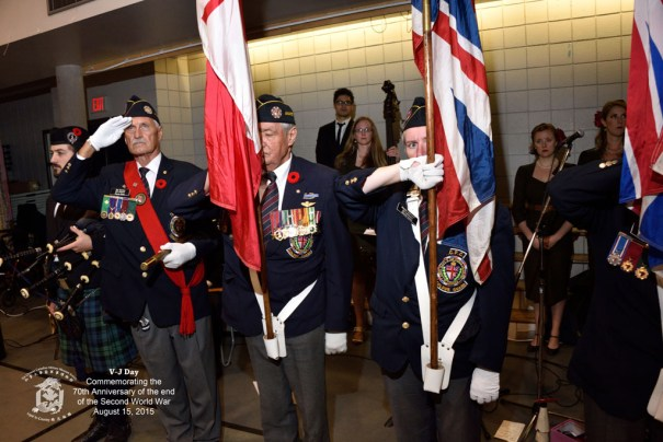 ANAVETS B.C. Command Colour Guard: L-R:, Piper James Thibault, Bob Rietveld, Peter Pasaen & Hazel Knight