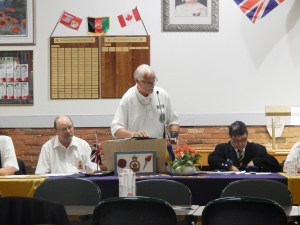 Bob Rietveld President of Unit 68 gives a speech on the Citadel Canine Societys PTSD Dog program to members of Legion Branch 179