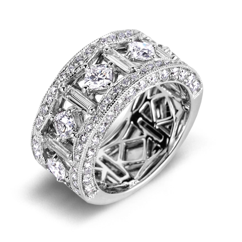 Anniversary Rings Baguette And Round Diamond Anniversary
