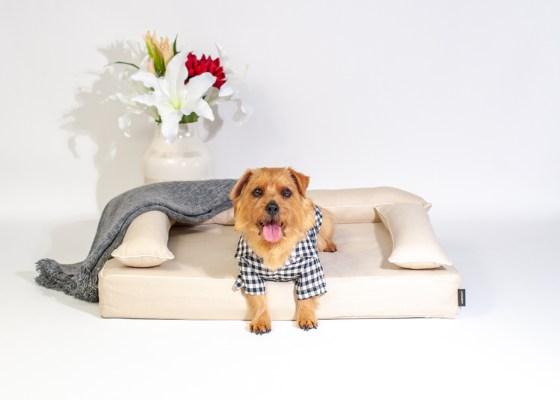 あご乗せクッション付きカバー:ファビア(グレージュ・プレイン)|犬のベッド:アンベルソ
