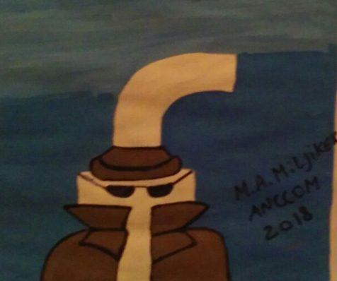 Ilustración de una persona que parecería ser un espía, con lentes, sombrero y sobretodo que cubre su identidad