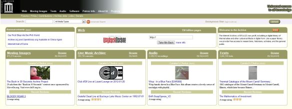 Internet Archive Main Page