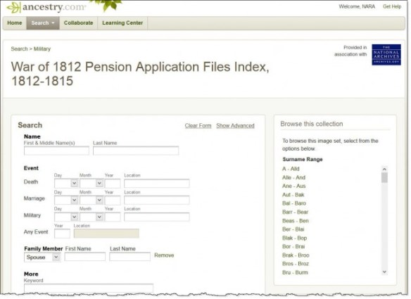 War of 1812 Pension Application Files at Ancestry