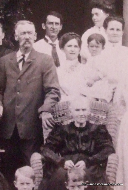 Herbert Andrson in rare four- generation family picture. Front Grandma Isabella McCabe Anderson, left her son Frank Anderson, Back her grandson Guy Anderson and his wife, Vera holding great-grandson Herbert, far right, dtr-in-law Mary Brink Anderson, Guy's mother. 1909
