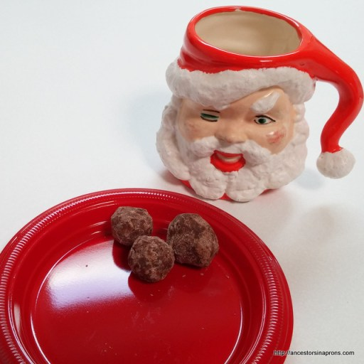 Santa and bourbon balls. Agnes Badertscher made the winking Santa Mug in 1968.