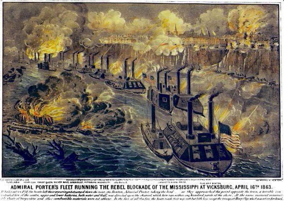Vicksburg-gunboats attack