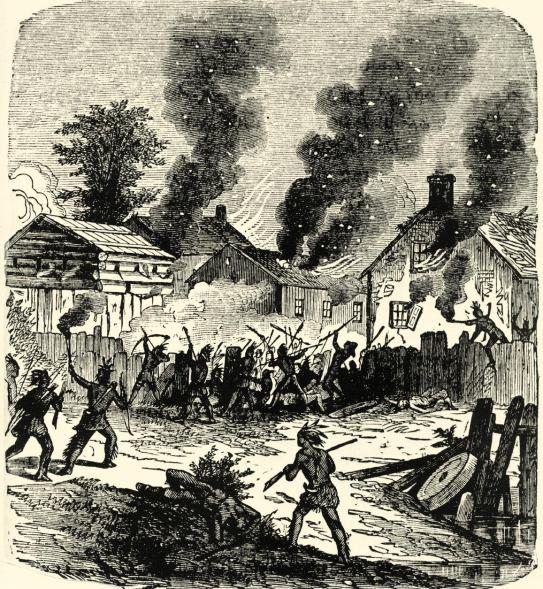 Indian Raid on a Puritan Village