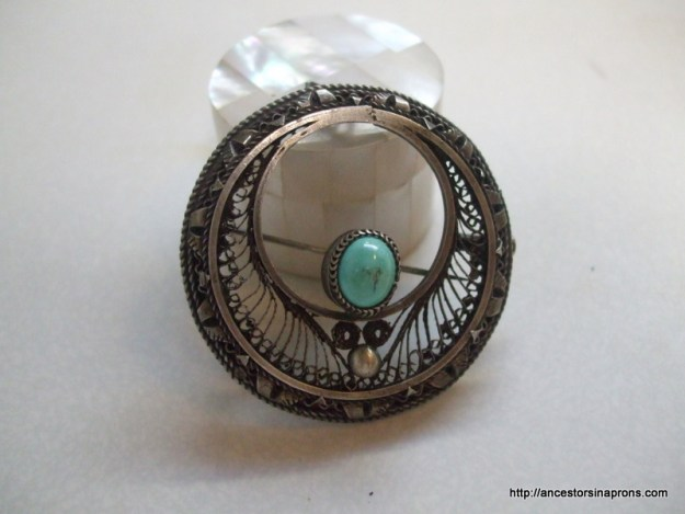 Antique jewelry silver pin