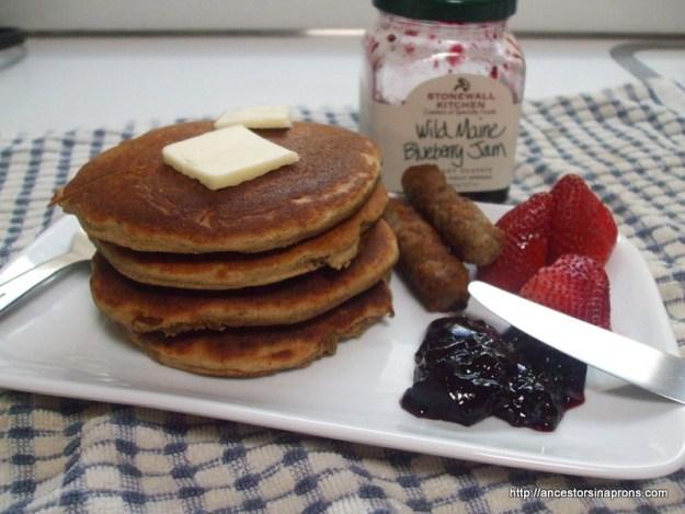 buckwheat pancakes with blueberry jam