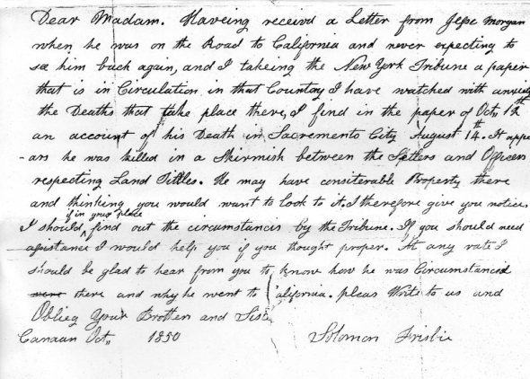 Letter to Mary Morgan