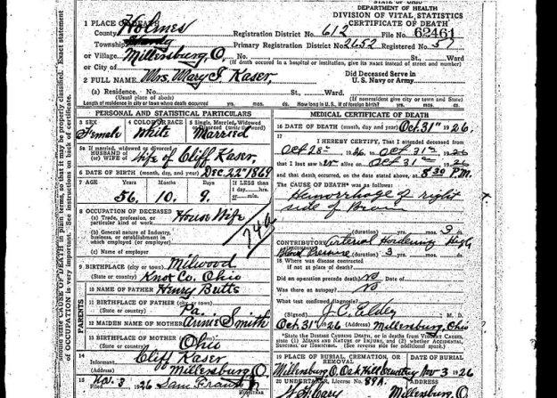 Mame Kaser's Death Certificate