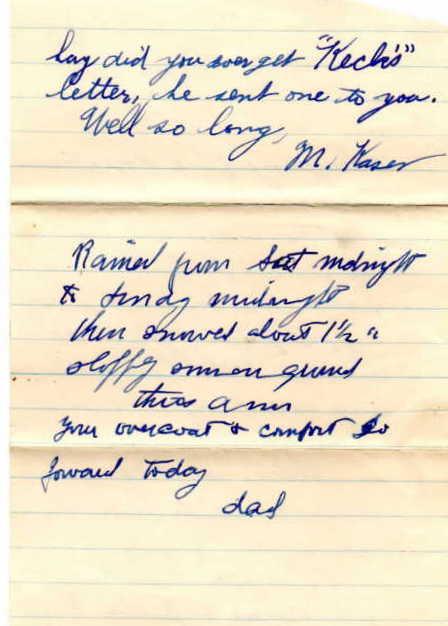 Letter from Milton Kaser to Paul Kaser