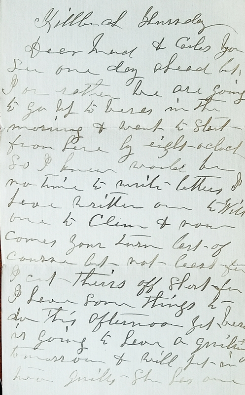 Letter from Hattie Stout 1910