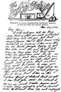 Letter from South Pacific in World War II