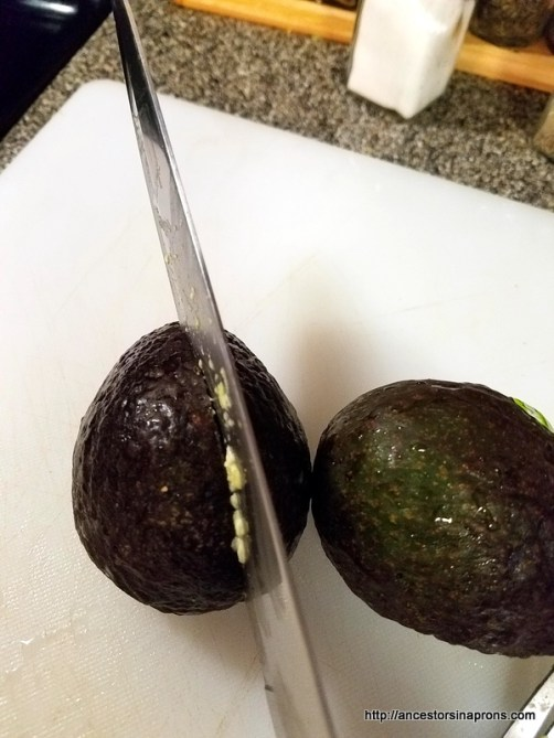 Cutting the avocado