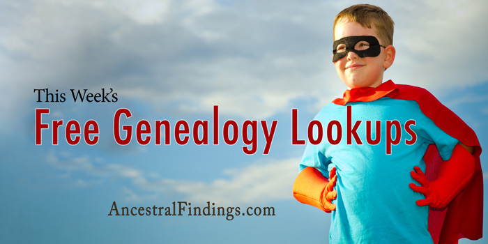 This Week's Free Genealogy Lookups (December 28)