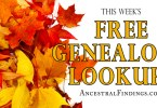 This Weeks Free Genealogy Lookups