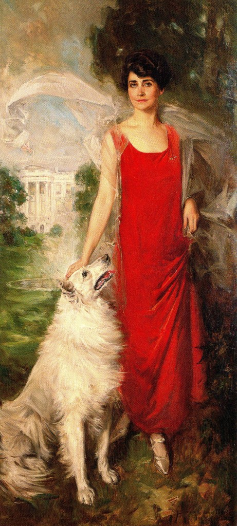 The official White House portrait of First Lady Grace Coolidge with her dog Rob Roy. (Wikipedia)