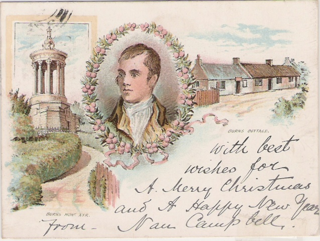 Example of a court card, postmarked 1899, showing Robert Burns and his cottage and monument in Ayr
