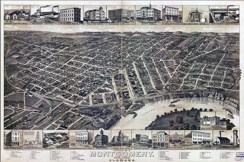 1887 bird's eye illustration of Montgomery (Wikipedia)
