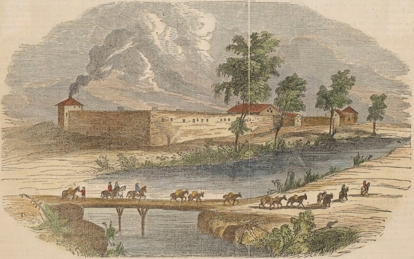 Contemporaneous illustration of Sutter's Fort in the 1840s
