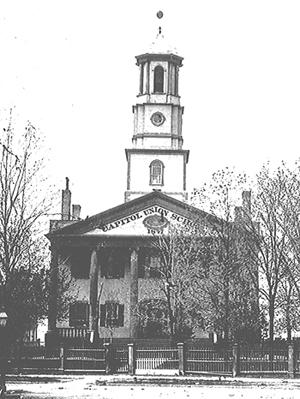 The original capitol building in Detroit sometime around 1847.