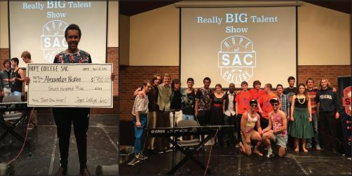 TALENT RUSHES IN — Seven gifted groups performed for the campus community at SAC's Really Big Talent Show, but there can be only one winner. Alex Pasker took home the gold with a tap dancing routine.