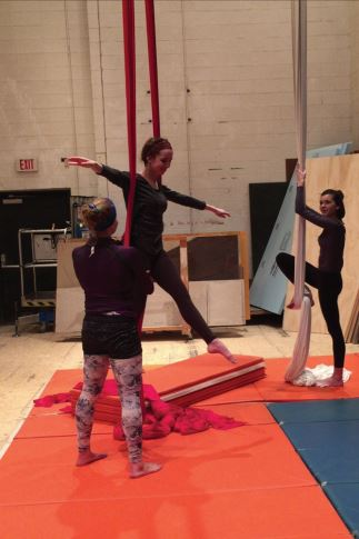 "ACTORS SWOOP IN — Some of the characters in ""The Tempest"" will be performing using aerial silks, taught by guest instructor Deb Keller."
