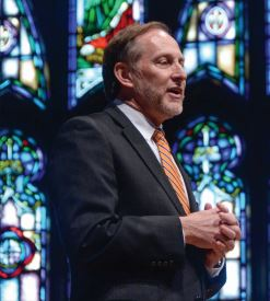THE SEMESTER'S END — President Knapp discussed leadership and finishing the semester strong in Monday's Chapel.