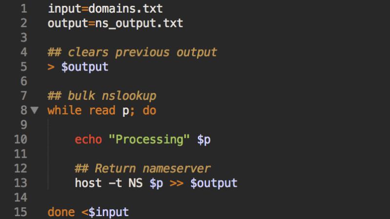 Bulk domain record lookups with bash