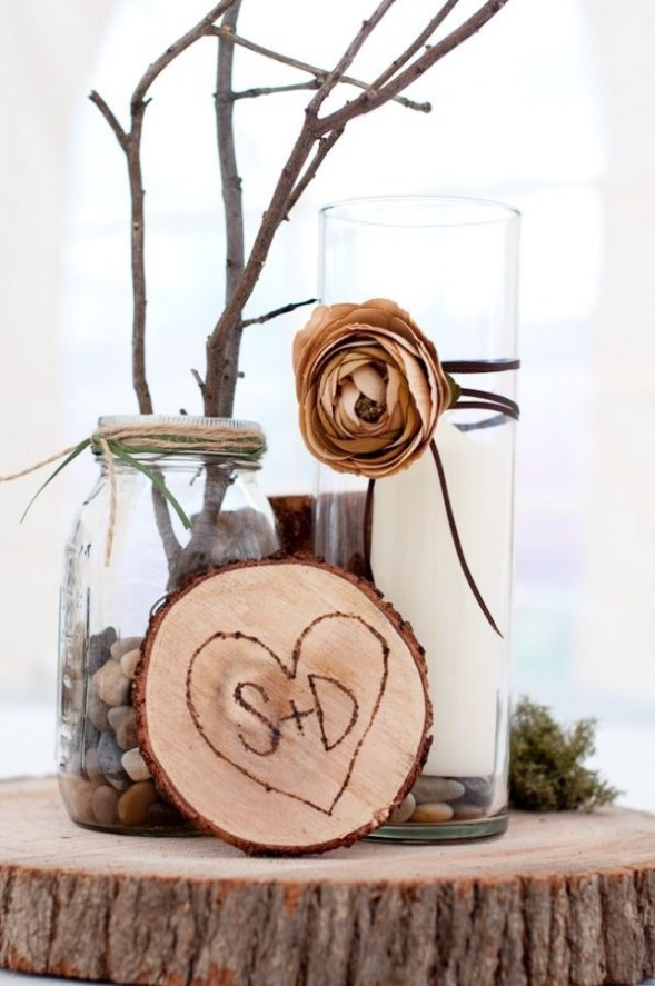 Beautiful Decorations for Your Wedding Decoration with Wooden Slices54