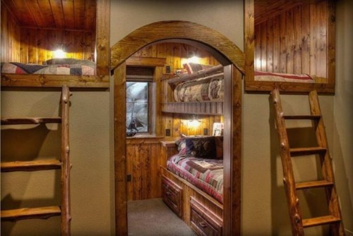 Bunk Beds with Wooden Wall Design 01