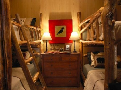 Bunk Beds with Wooden Wall Design 03