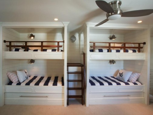 Bunk Beds with Wooden Wall Design 26
