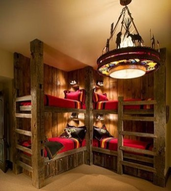 Bunk Beds with Wooden Wall Design 27