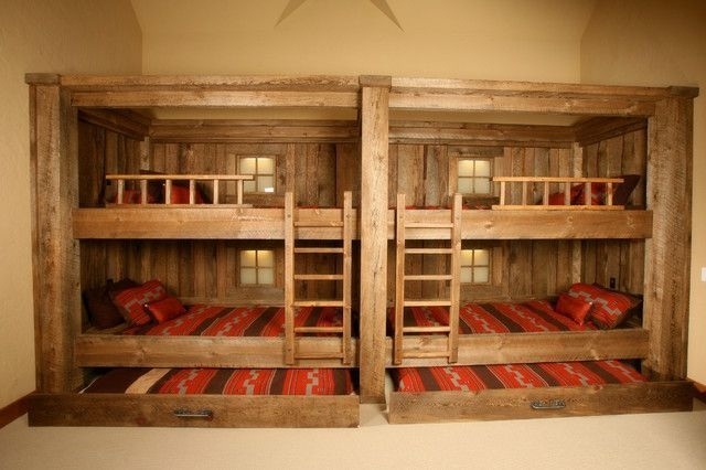 Bunk Beds with Wooden Wall Design 36