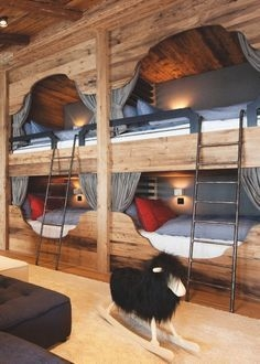 Bunk Beds with Wooden Wall Design 39