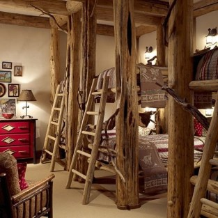 Bunk Beds with Wooden Wall Design 44