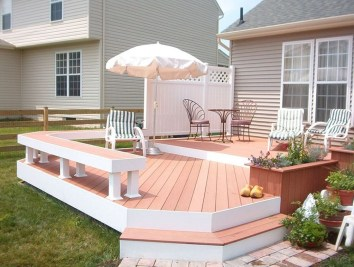 Easy DIY Wooden Deck Design For Backyard 08