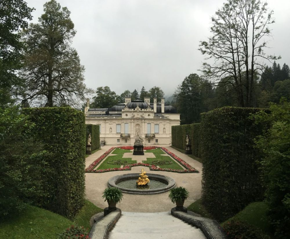 A view of the castle gardens at Linderhof Palace in Germany.