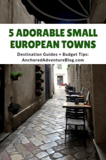 "An alleyway with plants on the walls. The graphic includes the post's title ""5 charming small towns in Europe"""