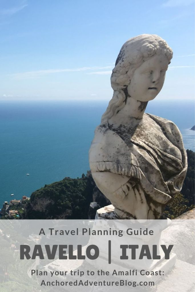 """A photo from the terrace in Villa Cimbrone. The text on the photo says, """"A Travel Planning Guide - Ravello, Italy. Plan your trip to the Amalfi Coast."""""""