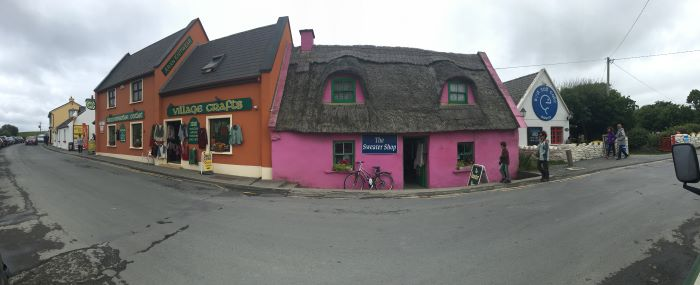 A pink and orange building in the town of Doolin, Ireland.