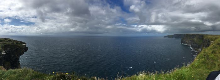 A weekend in Galway must include a day trip to the Cliffs of Moher. Pictured here is the dramatic coastline of the cliffs and the coast.in