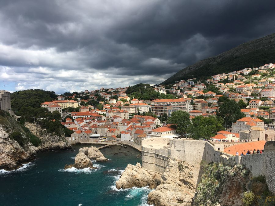 The view of the ocean and Dubrovnik from above.