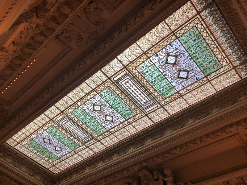 A photo of the tiled ceilings in the Breakers mansion in Newport.