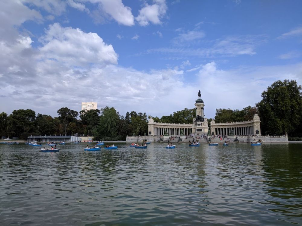Paddle boats on a lake in Madrid's park, El Retiro.