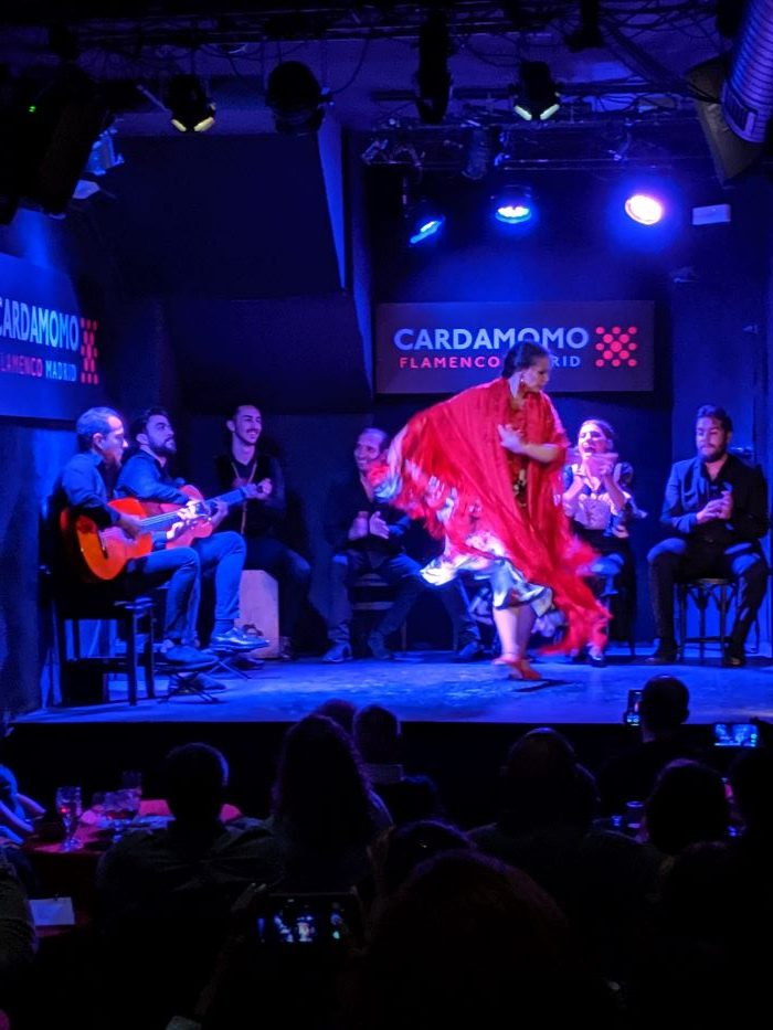 A women dancing at a Flamenco show in madrid